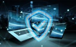 Antivirus interfejs nad nowożytnym technika przyrządów 3D renderingiem Fotografia Stock