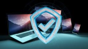 Antivirus interfejs nad nowożytnym technika przyrządów 3D renderingiem Royalty Ilustracja