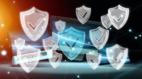 Antivirus interfejs nad nowożytnym technika przyrządów 3D renderingiem ilustracji