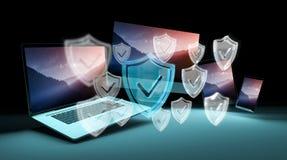 Antivirus interfejs nad nowożytnym technika przyrządów 3D renderingiem Obrazy Stock