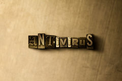 ANTIVIRUS - Nahaufnahme des grungy Weinlese gesetzten Wortes auf Metallhintergrund Lizenzfreies Stockfoto
