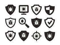Antivirus ochrona Sieci ikony ustawiać Zdjęcie Royalty Free