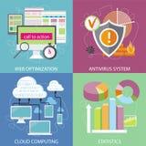 Antivirus system, chmura oblicza, statystyki Obrazy Stock