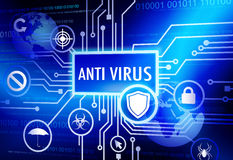 Antivirus Themed Concepts and Blue Background Stock Photos