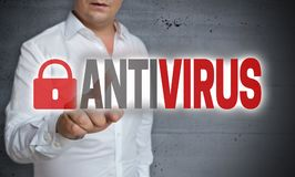 Antivirus touchscreen is operated by man Stock Photography