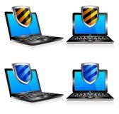 Antivirus van het schild 3D laptop en tweede Stock Foto