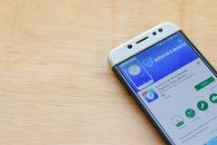 Antivirus & wirusa zmywacz dev zastosowanie na Smartphone ekranie Applock, Czysty, zwiększenie jest freeware przeglądarką interne obrazy stock