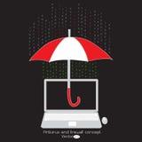 Antivirus y protección de cortafuegos en su computadora portátil Fotos de archivo libres de regalías
