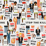 Antiwar demonstration, crowd of flat people Royalty Free Stock Image