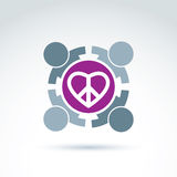 Antiwar and love vector icons. People holding hands around a lov Stock Images