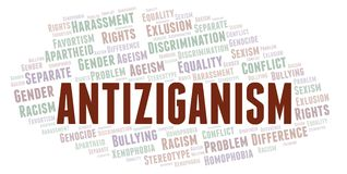 Antiziganism - type of discrimination - word cloud. Wordcloud made with text only stock illustration
