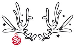 Antler, christmas. Reindeer antler with christmas balls Vector Illustration