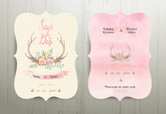 Antler flowers rustic wedding save the date invitation card 02. On wood background Stock Photo