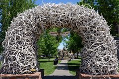 Antler gate. Jackson, Wyoming, 07/14/2013narch created with many antlers in the public park of Jackson Hole, Wyoming stock images