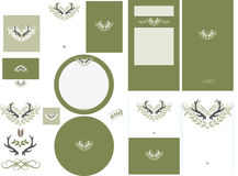 Antler love graphic in fern invitation set 2. Includes front and back designs with bleed area. Pocket card invitation, response cards, program or menu card Royalty Free Stock Photos