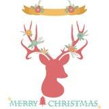 Antlers оленей рождества с комплектом знамени Стоковая Фотография