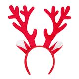 Antlers of a deer headband isolated on white background. Pair of toy reindeer horns. Isolated on white background royalty free stock photo