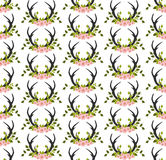 Antlers and flowers seamless pattern. Flowers, leaves, antlers seamless pattern..fabricDesign element for wallpapers, web site background, baby shower invitation Stock Images