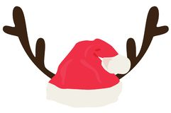 Antlers With Santa Hat Isolated on White Background. vector illustration