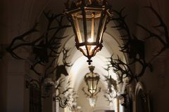The antlers on the walls of the castle. A hunting trophy Stock Photo