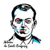 Antoine de Saint-Exupery Portrait royalty free illustration