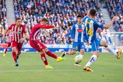 Antoine Griezmann-spelen bij de gelijke van La Liga tussen RCD Espanyol en Atletico DE Madrid Royalty-vrije Stock Fotografie