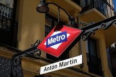 Anton Martin Metro Station à Madrid photo stock