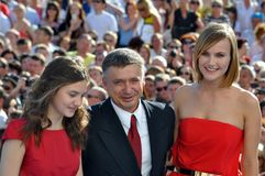 Anton Tabakov and his wife and daughter. RUSSIA, SOCHI - JUNE 3: Anton Tabakov and his wife and daughter at the Open Russian Film Festival Kinotavr on June 3 Stock Images