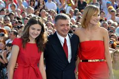 Anton Tabakov and his wife and daughter. RUSSIA, SOCHI - JUNE 3: Anton Tabakov and his wife and daughter at the Open Russian Film Festival Kinotavr on June 3 Stock Photos