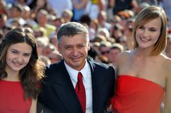 Anton Tabakov and his wife and daughter. RUSSIA, SOCHI - JUNE 3: Anton Tabakov and his wife and daughter at the Open Russian Film Festival Kinotavr on June 3 Royalty Free Stock Photography