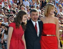 Anton Tabakov and his wife and daughter. RUSSIA, SOCHI - JUNE 3: Anton Tabakov and his wife and daughter at the Open Russian Film Festival Kinotavr on June 3 Stock Photo