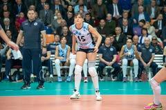 Antonella Del Kore (Dynamo (KZN) 15. MOSCOW, RUSSIA - DECEMBER 2: Antonella Del Kore (Dynamo (KZN) 15, while playing on women's Rissian volleyball Championship Royalty Free Stock Image