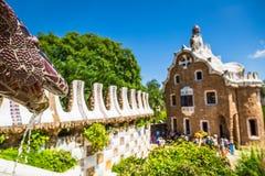 1900 1914 antoni построенный barcelona конструировали известный парк Испанию guell gaudi к летам Стоковое Фото
