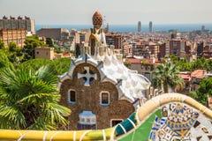 1900 1914年antoni ・被修建的巴塞罗那设计了著名gaudi guell公园西班牙对几年 库存图片