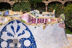 1900 1914年antoni ・被修建的巴塞罗那设计了著名gaudi guell公园西班牙对几年 库存照片