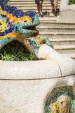 1900 1914年antoni ・被修建的巴塞罗那设计了著名gaudi guell公园西班牙对几年 免版税图库摄影