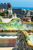1900 1914 antoni byggda barcelona planlade den berömda gaudiguellparken spain till år Fotografering för Bildbyråer