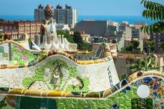 1900 1914 antoni byggda barcelona planlade den berömda gaudiguellparken spain till år Royaltyfria Foton