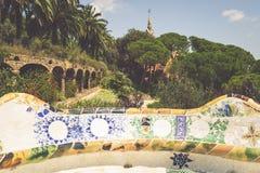 1900 1914 antoni byggda barcelona planlade den berömda gaudiguellparken spain till år Arkivfoton