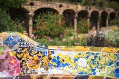 1900 1914 antoni byggda barcelona planlade den berömda gaudiguellparken spain till år Royaltyfria Bilder
