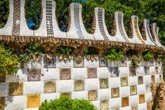 1900 1914 antoni byggda barcelona planlade den berömda gaudiguellparken spain till år Arkivfoto