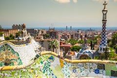 1900 1914 antoni byggda barcelona planlade den berömda gaudiguellparken spain till år Royaltyfri Bild