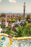 1900 1914 antoni byggda barcelona planlade den berömda gaudiguellparken spain till år Arkivbilder