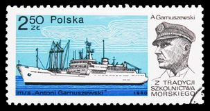 Antoni Garnuszewski, A. Garnuszewski, Training ships serie, circa 1980. MOSCOW, RUSSIA - OCTOBER 6, 2018: A stamp printed in Poland shows Antoni Garnuszewski, A royalty free stock photo