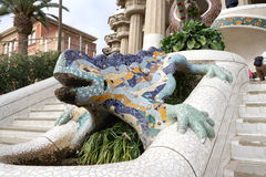 Antoni Gaudí famous dragon at Park Guell Stock Images