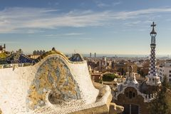 Antoni Gaudí`s mosaic work on the main terrace at Park Guell royalty free stock image
