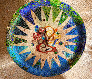 Antoni Gaudi Ceramic Mosaic Design Guell Park Barcelona Catalonia Spain royalty free stock photo