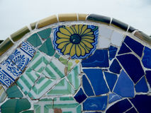 Antoni Gaudi ceramic mosaic design. Ceramic mosaic design in Guell Park, Barcelona, Spain. The park is designed by Antoni Gaudi between 1900-1914 and is now a Stock Image