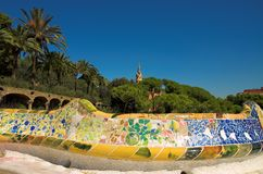 Antoni Gaudi hause and ceramic bench in Park Guell. Barcelona, Spain stock photo
