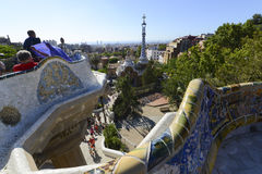 Antoni Gaudi hause and ceramic bench in Park Guell Stock Image